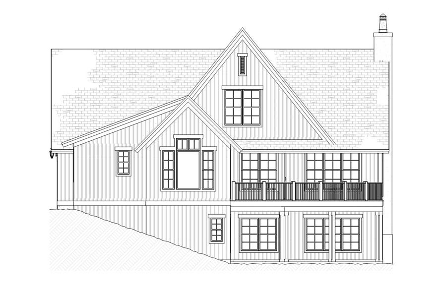 Home Plan Rear Elevation of this 4-Bedroom,3086 Sq Ft Plan -168-1088