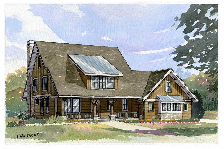 Artist's rendering of Country home plan (ThePlanCollection: House Plan #168-1089)