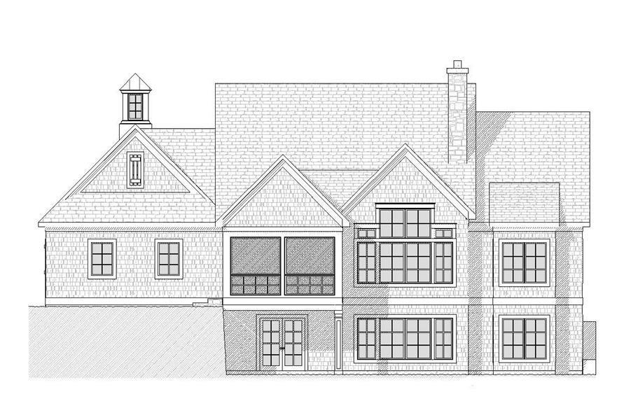 Home Plan Rear Elevation of this 3-Bedroom,3150 Sq Ft Plan -168-1090