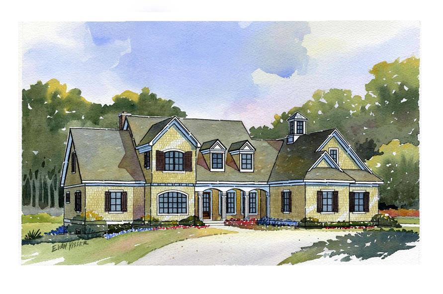 This image is a color rendering of these Luxury House Plans.