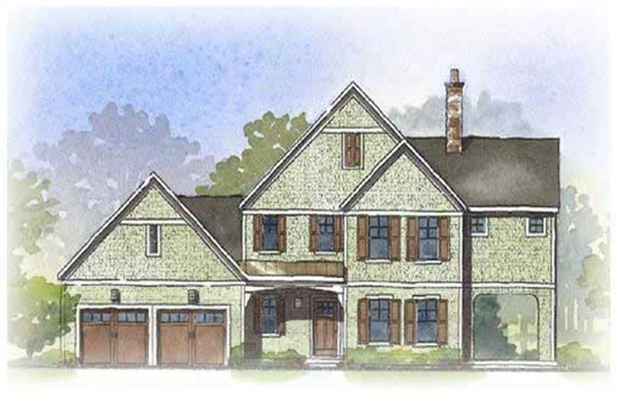 This is a colored front elevation of these Craftsman Home Plans.