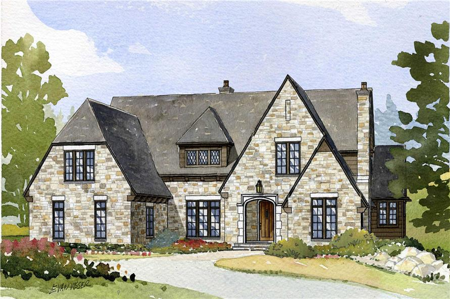 This is an artist's rendering of these English Country Homeplans.