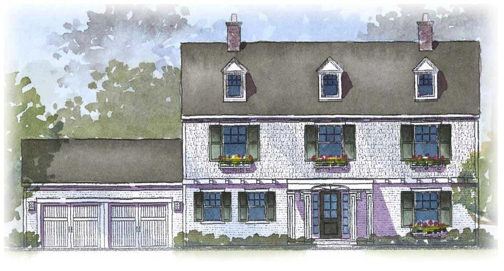 Front elevation of Colonial home (ThePlanCollection: House Plan #168-1095)
