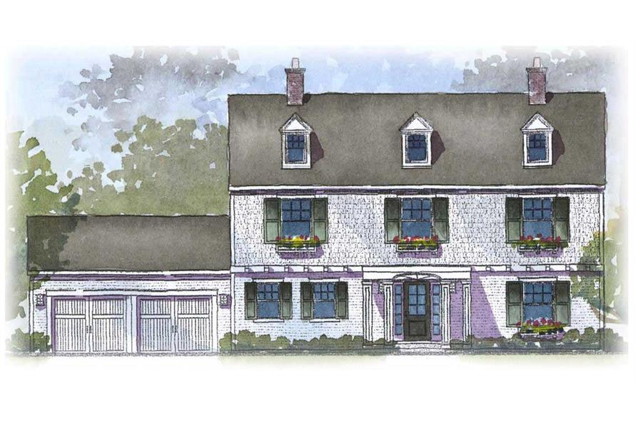 This image shows the front elevation of these Colonial Homeplans.