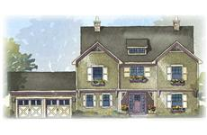 This is an artist's color rendering of these Shingle Home Plans.