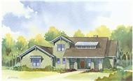 This image shows the front elevation of these charming Craftsman Home Plans.