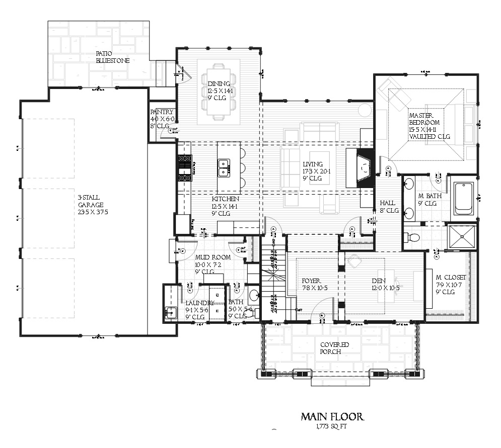 168-1099 house plan main level