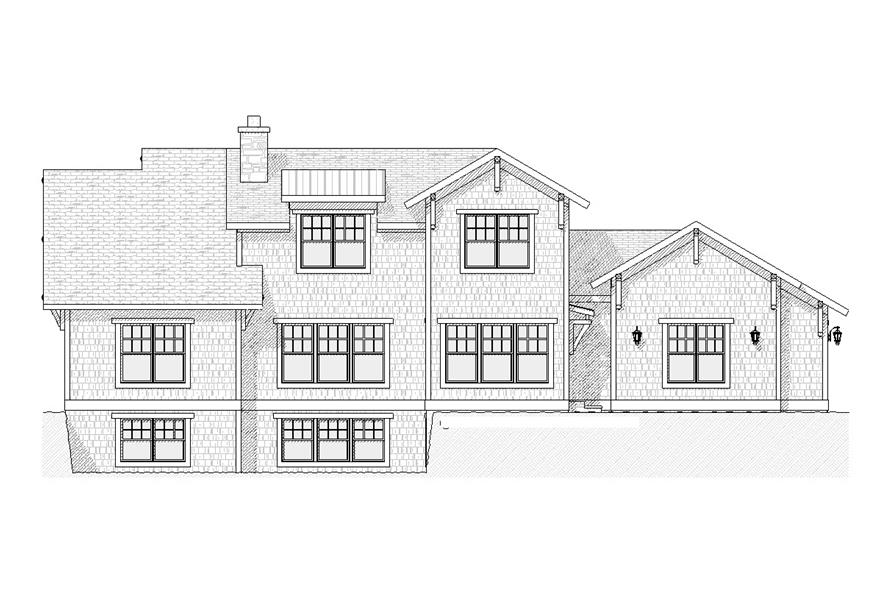 Home Plan Rear Elevation of this 4-Bedroom,2609 Sq Ft Plan -168-1099
