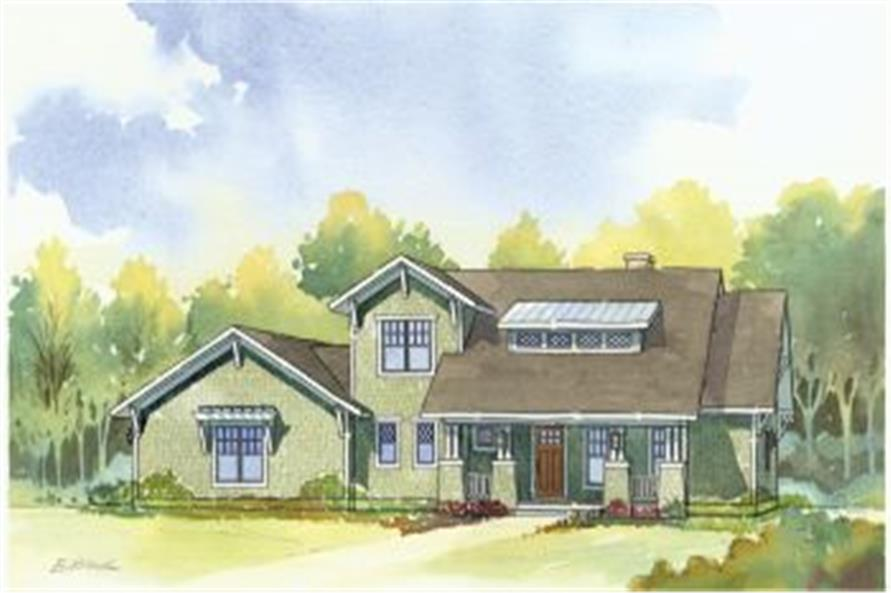 168-1099: Home Plan Rendering - Front Elevation