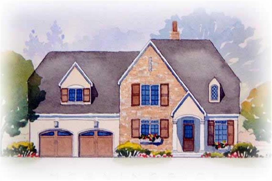 This is a colorful rendering of this stylish set of European House Plans.