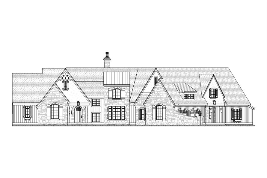 Home Plan Front Elevation of this 3-Bedroom,3559 Sq Ft Plan -168-1104