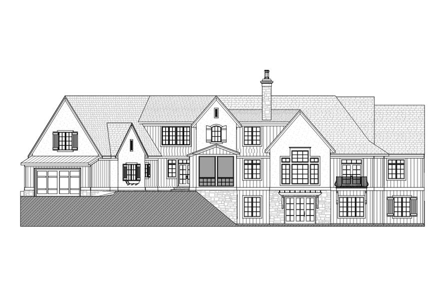 Home Plan Rear Elevation of this 3-Bedroom,3559 Sq Ft Plan -168-1104