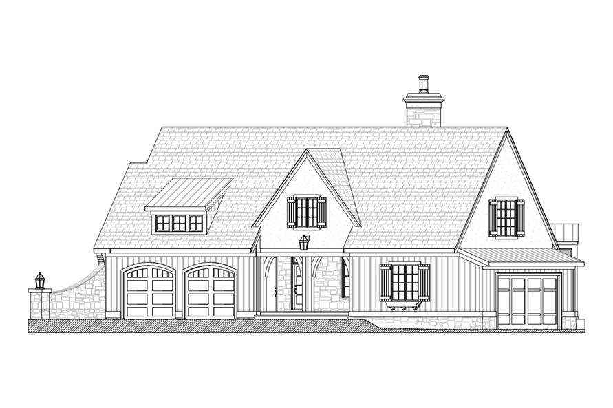 Home Plan Right Elevation of this 3-Bedroom,3559 Sq Ft Plan -168-1104