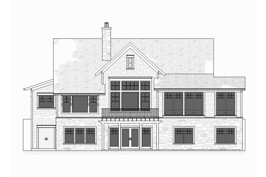 Home Plan Rear Elevation of this 4-Bedroom,3999 Sq Ft Plan -168-1105