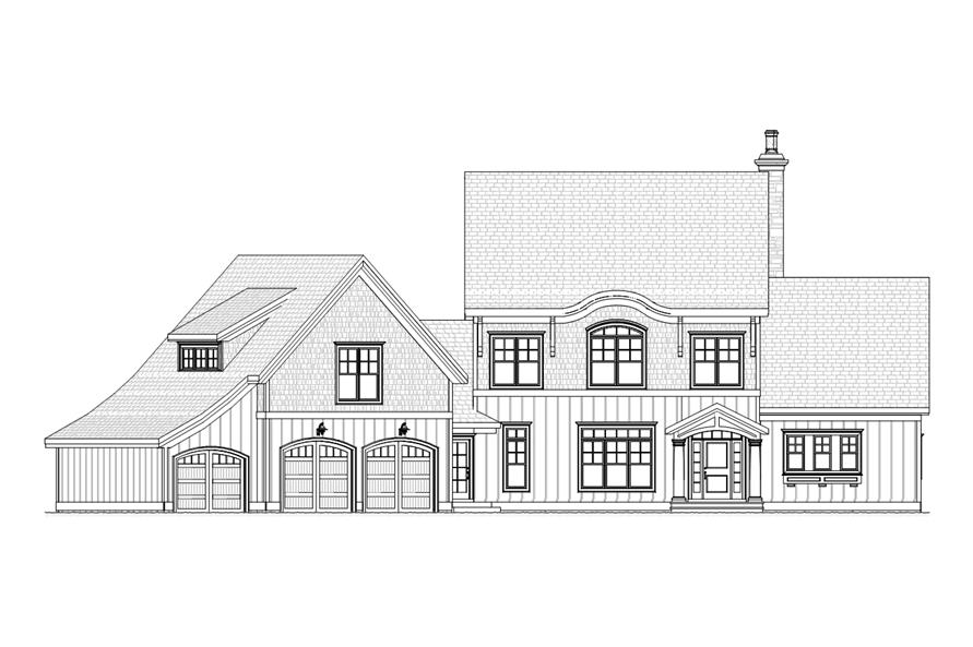 Home Plan Front Elevation of this 4-Bedroom,3227 Sq Ft Plan -168-1106