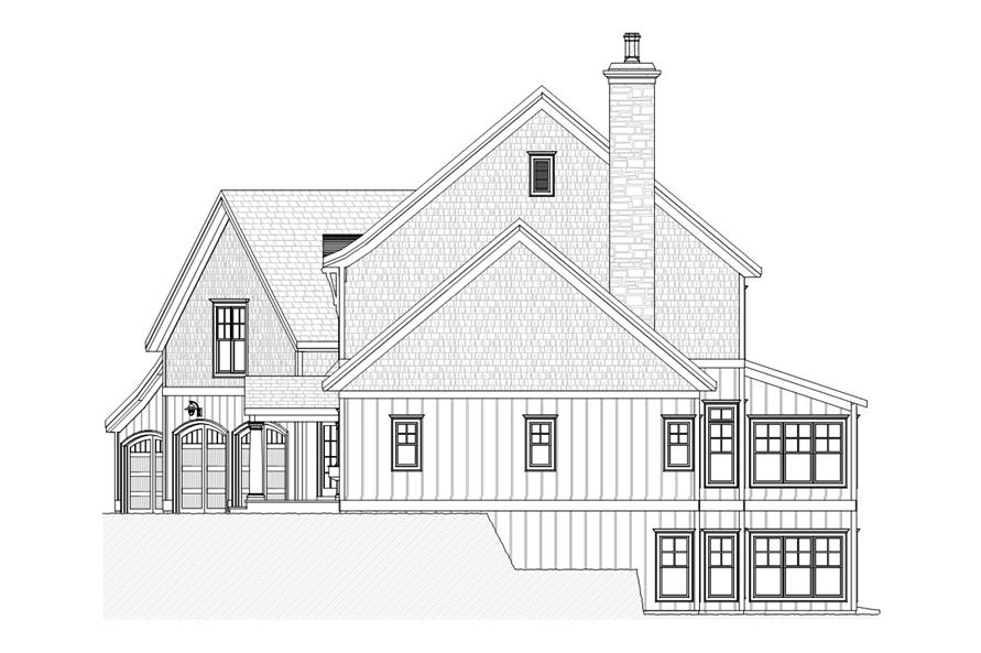 Home Plan Right Elevation of this 4-Bedroom,3227 Sq Ft Plan -168-1106