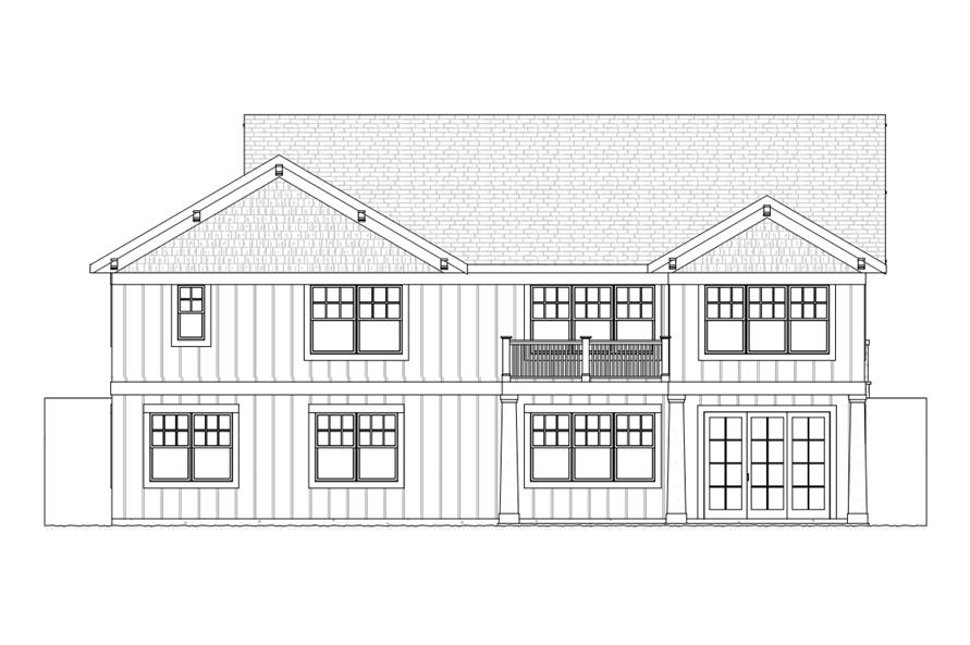 168-1109: Home Plan Rear Elevation