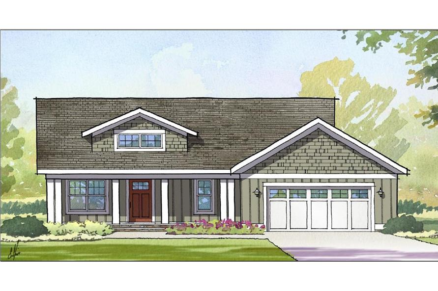 Front elevation of Traditional home (ThePlanCollection: House Plan #168-1109)