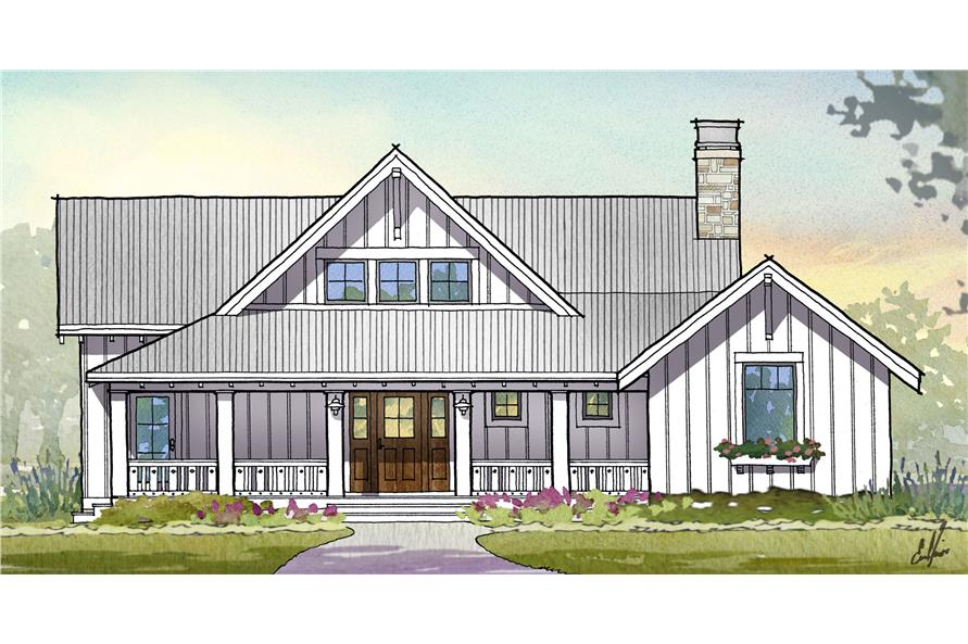 Front elevation of Traditional home (ThePlanCollection: House Plan #168-1110)