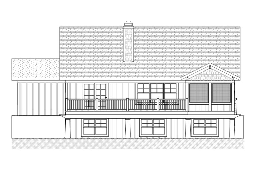 168-1111: Home Plan Rear Elevation