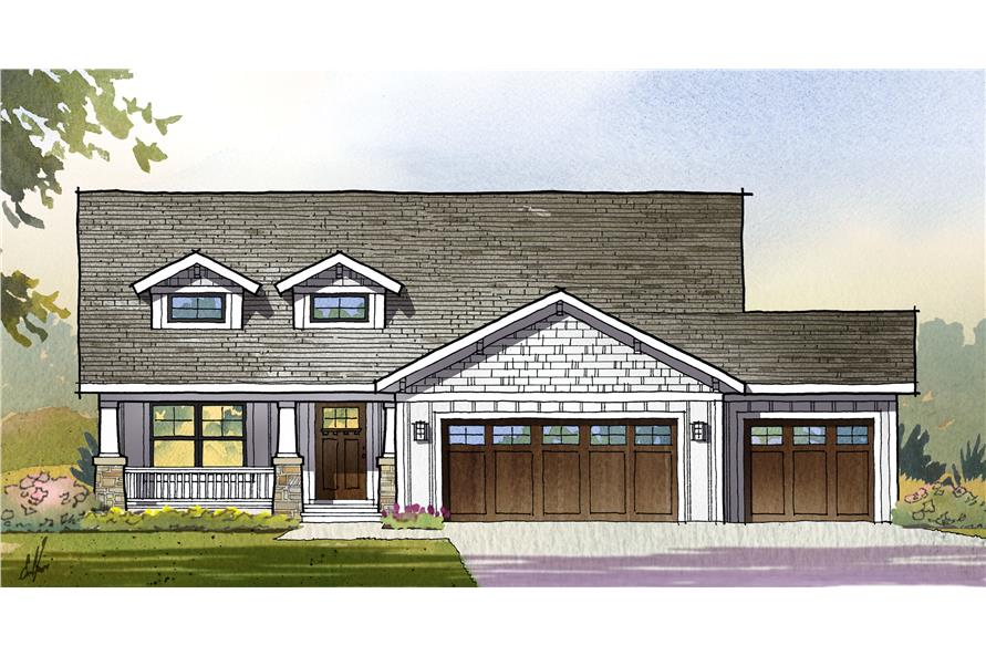 Front elevation of Traditional home (ThePlanCollection: House Plan #168-1111)