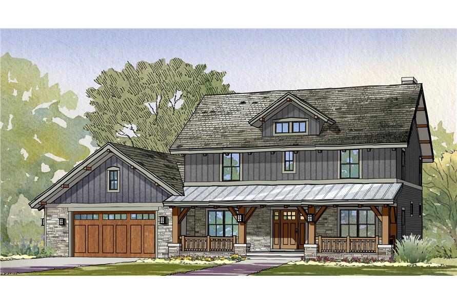Front elevation of Craftsman home (ThePlanCollection: House Plan #168-1118)