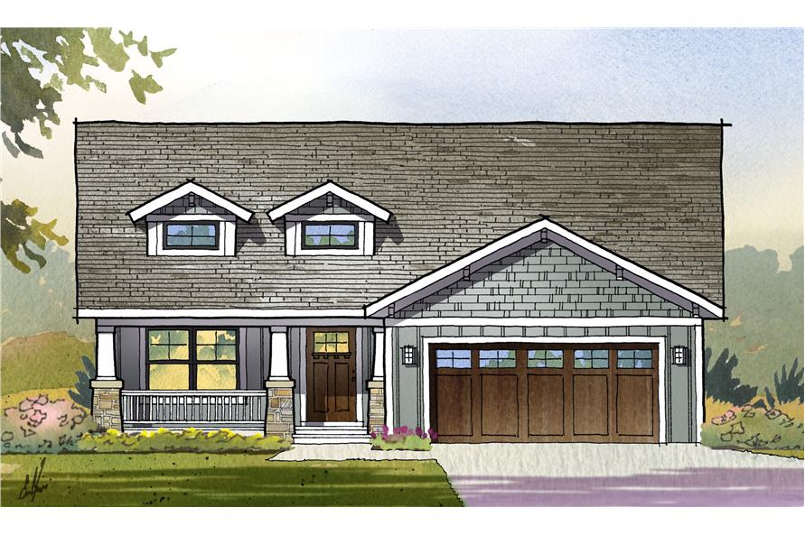 Front elevation of Ranch home (ThePlanCollection: House Plan #168-1119)