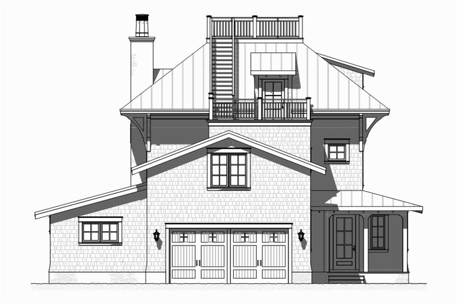Home Plan Rear Elevation of this 4-Bedroom,3470 Sq Ft Plan -168-1120