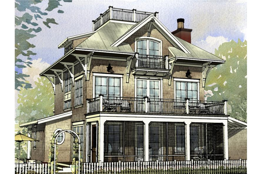Front elevation of Beachfront home (ThePlanCollection: House Plan #168-1120)
