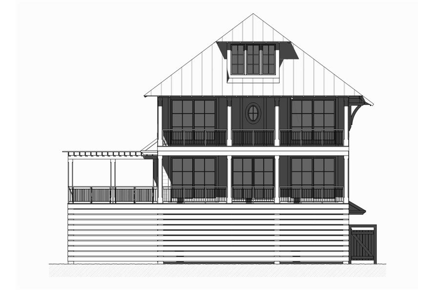 Home Plan Rear Elevation of this 5-Bedroom,3331 Sq Ft Plan -168-1121