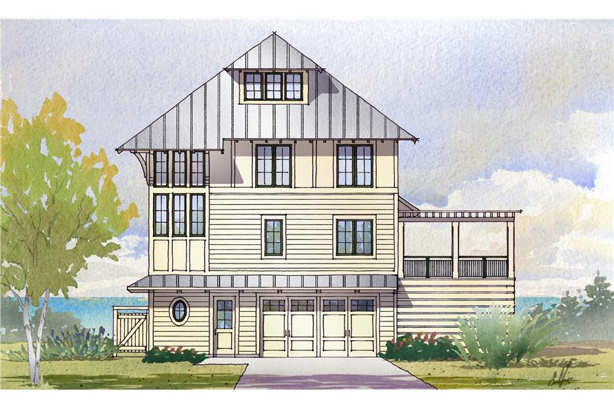 Front elevation of Beachfront home (ThePlanCollection: House Plan #168-1121)