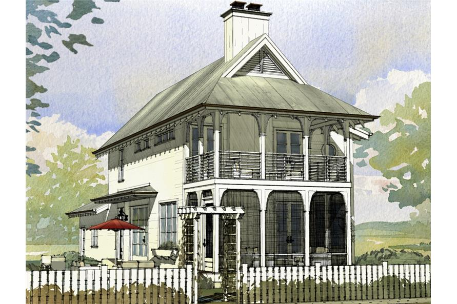 Front elevation of Cottage home (ThePlanCollection: House Plan #168-1123)