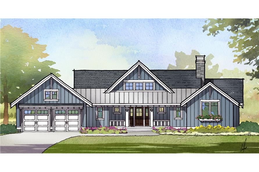 Front elevation of Cottage home (ThePlanCollection: House Plan #168-1124)