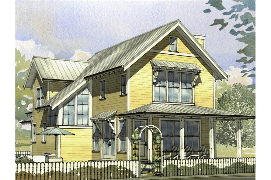 Front elevation of Cottage home (ThePlanCollection: House Plan #168-1125)