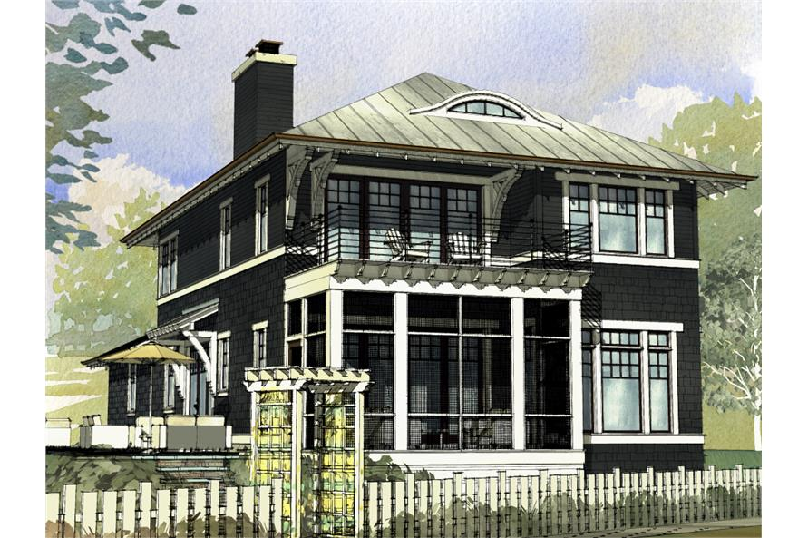 Front elevation of Cottage home (ThePlanCollection: House Plan #168-1126)