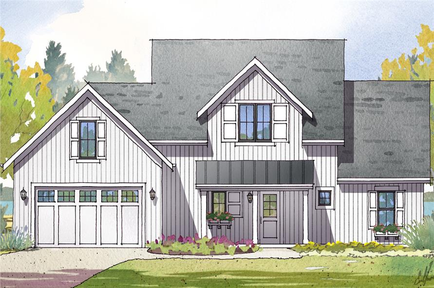 Front elevation of Cottage home (ThePlanCollection: House Plan #168-1129)
