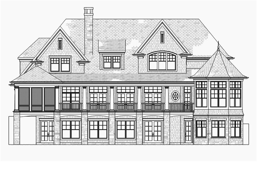 Home Plan Rear Elevation of this 5-Bedroom,4580 Sq Ft Plan -168-1132