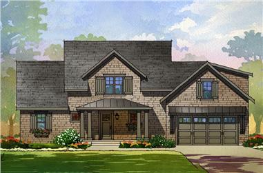 Front elevation of Cottage home (ThePlanCollection: House Plan #168-1135)