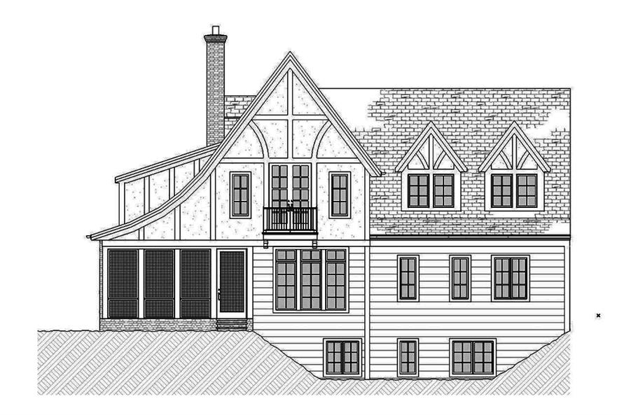 Home Plan Rear Elevation of this 3-Bedroom,3331 Sq Ft Plan -168-1137