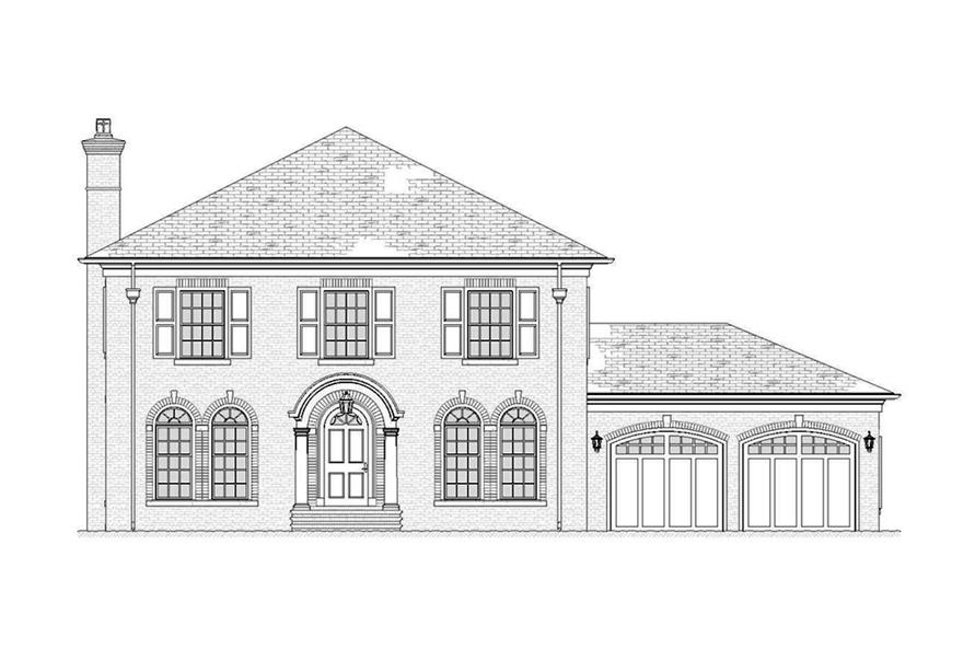 Home Plan Front Elevation of this 4-Bedroom,3221 Sq Ft Plan -168-1138