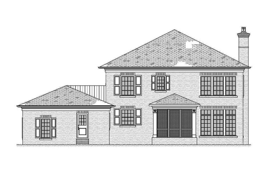 Home Plan Rear Elevation of this 4-Bedroom,3221 Sq Ft Plan -168-1138