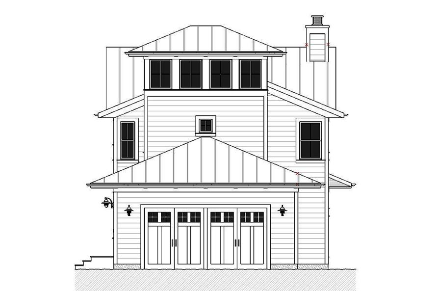 Home Plan Rear Elevation of this 3-Bedroom,2170 Sq Ft Plan -168-1139