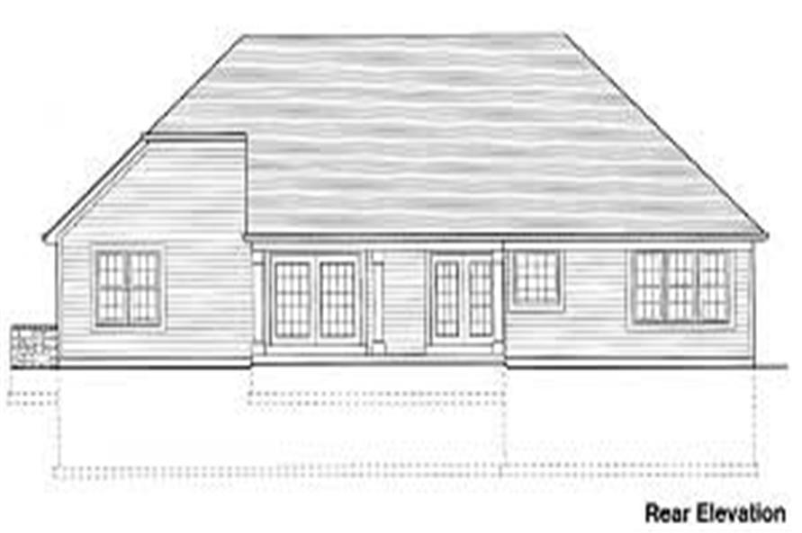 Home Plan Rear Elevation of this 3-Bedroom,1651 Sq Ft Plan -169-1001