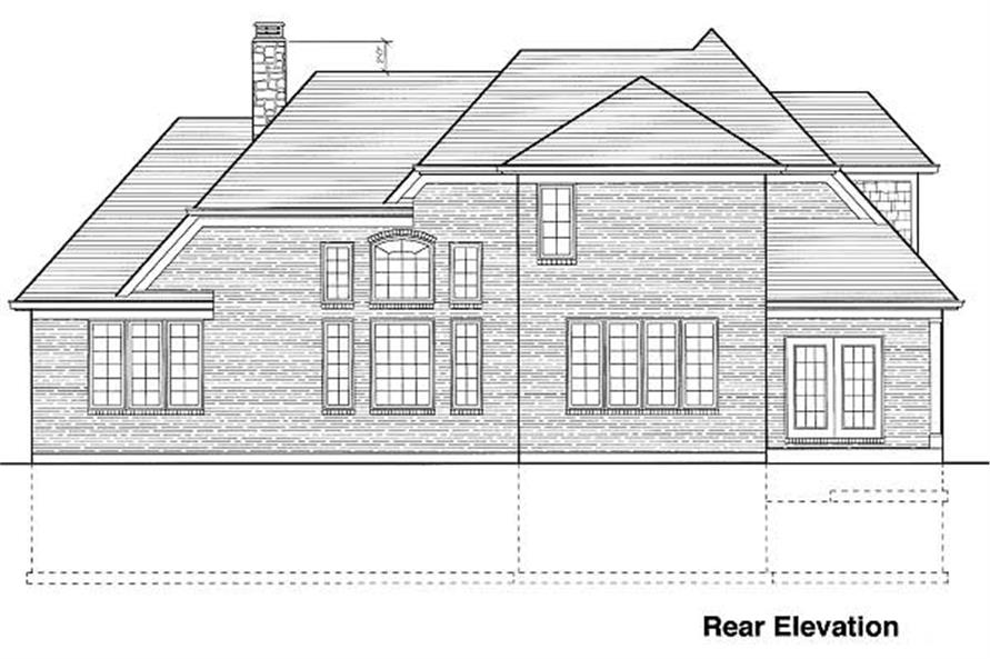 Home Plan Rear Elevation of this 4-Bedroom,2077 Sq Ft Plan -169-1002
