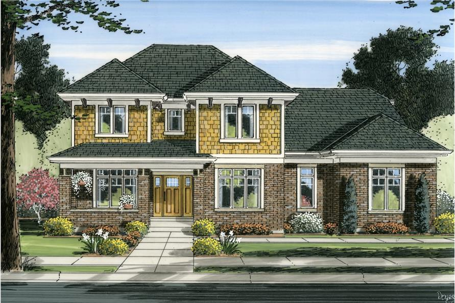 Home Plan Front Elevation of this 4-Bedroom,2697 Sq Ft Plan -169-1006