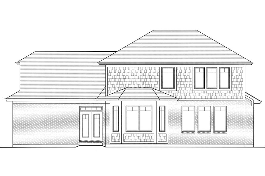 Home Plan Rear Elevation of this 4-Bedroom,2697 Sq Ft Plan -169-1006