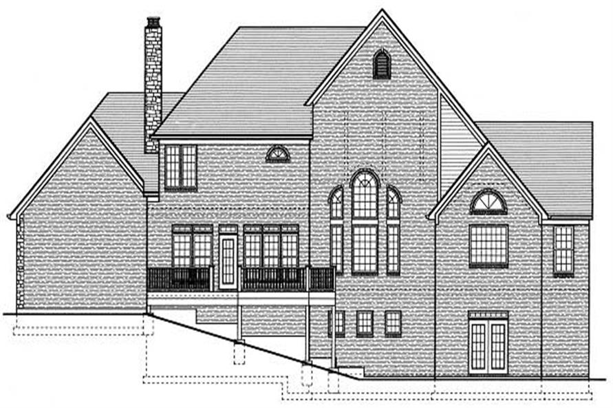 Home Plan Rear Elevation of this 4-Bedroom,3746 Sq Ft Plan -169-1007