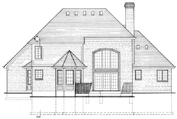 169-1013 House plan rear elevation