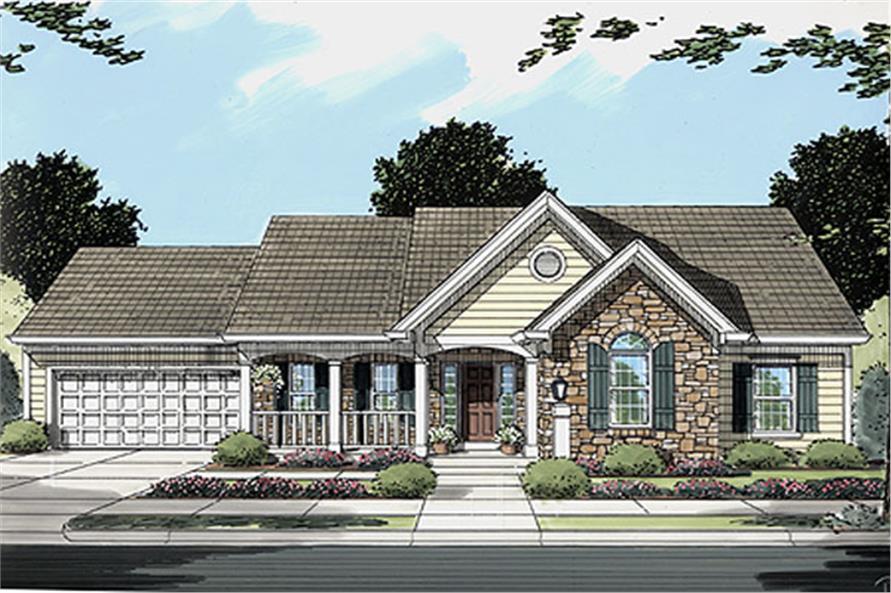 3-Bedroom, 1498 Sq Ft Ranch Home Plan - 169-1014 - Main Exterior
