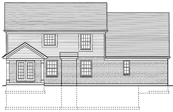 169-1015 house plan rear elevation